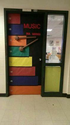 Elementary Music Classroom Door - cute!  What's on your door?