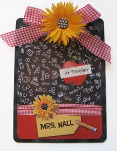 Daisy Teacher A+ Decorated Clipboard-Clipboard, teacher gift, classroom, red gingham bow, chalkboard, blackboard, decorated clipboard, personalized clipboard, altered clipboard, painted clipboard, fancy clipboard, polka dot, organizer, teacher gift