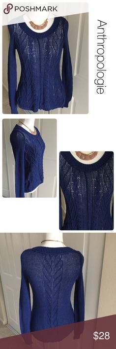 Anthropologie Sparrow blue cableknit sweater  XS Excellent condition. No stains, tears or piling. Very slight color fading. 💯 cotton Anthropologie Sweaters Crew & Scoop Necks