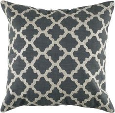 Pretty, neutral throw pillow - Keyes Decorative Pillow, Charcoal/White modern pillows