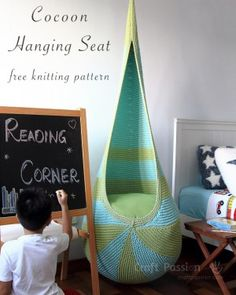 Cocoon Hanging Seat Pattern -- Free knitting pattern to DIY your own cocoon hanging seat. Written pattern & instructions, tutorial photos to show the details. Include seat insert pattern.
