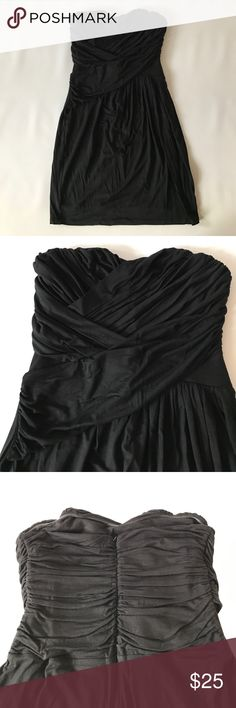 Express strapless dress NWT strapless Express dress. Has a layered ruche detailing that gathers on one side on front and has a layered detailing on the back (see pics) Express Dresses Strapless
