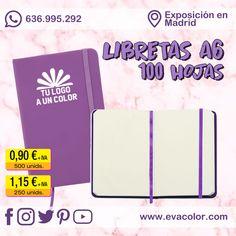 Libreta A6 con logo marcado a un color en la portada. 100 hojas lisas. #libreta #bloc #morado #8m #mujer