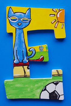 Pete the Cat Stay Groovy Alphabet Letter E Character Letters, Cat Character, Alphabet Wall, Alphabet Book, Pete The Cat Art, Kitten Baby, Classroom Wall Decor, Storybook Characters, Baby Shower Presents