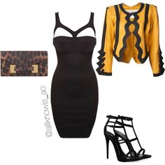 A fashion look from September 2014 featuring sexy mini dress, Yellow Jacket and high heels sandals. Browse and shop related looks. Shoe Bag, Stuff To Buy, Outfits, Shopping, Collection, Design, Women, Fashion, Outfit
