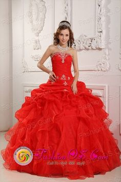 2015 Salta Argentina Strapless Red Appliques and Ruched Bodice Ruffles Organza Quinceanera Dress  Style QDZY031FOR