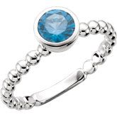 14k White Gold Stackable Birthstone Mother's Ring