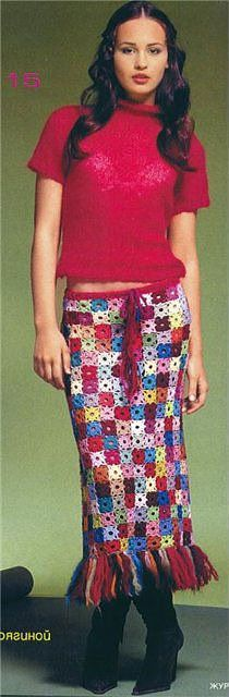 'mini granny squares' skirt - would be cute kind of with little quilt squares and without the fringe on the bottom.
