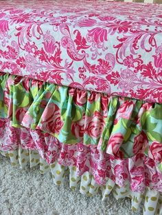 Tumble Roses, Hot Pink Damask, and Gold Dot Ruffled Crib Skirt