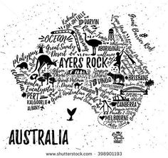 Typography poster. Australia map. Australia travel guide.