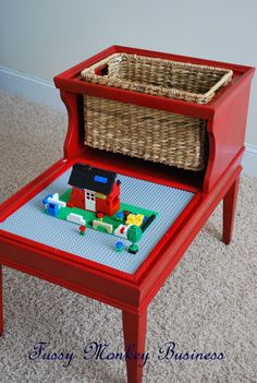 """Maybe some crafty volunteers can turn one of those ugly bi-level side tables into a Legos table. Not only does this make a thrift store donation more appealing to shoppers... it'll enhance the """"treasure hunt"""" aspect of your nonprofit resale shop, says TGtbT.com"""