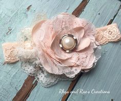 Vintage Blush Peach & Pink Satin Lace Fabric Flower Baby Girls Headband  A personal favorite from my Etsy shop https://www.etsy.com/listing/268990163/vintage-blush-pink-and-peach-satin-lace
