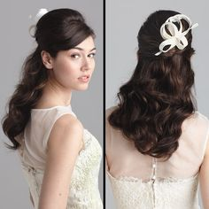 Brides: Half-Up Wedding Hairstyle With Waves. An illusion neck (one with a sheer fabric panel extending from the bust to the collar) offers some versatility. If the illusion part of the bodice is beaded, try a full-on updo to show off the details. But if it's plain sheer fabric, a half-up/half-down style is a nice compromise. For this look, have your stylist tease at the roots to create lift, then twist the top portion into a mini bun. Gown, Style N7009, $5,720, Angel Sanchez. Swish comb…