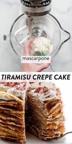 This tiramisu crepe cake features 25 crepes and 24 layers of sweet tiramisu filling made with whipped cream, mascarpone, rum, and espresso. This is a totally impressive, yet very simple no-bake cake. Recipe + video tutorial on sallysbakingaddiction.com #crepes #tiramisu #baking #bakingvideos Trifle Desserts, Delicious Desserts, Tiramisu Crepe Cake Recipe, Dessert Sauces, Dessert Recipes, Homemade Crepes, Sweet Whipped Cream, How To Make Crepe, Sallys Baking Addiction