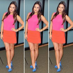 pink and orange colorblock dress
