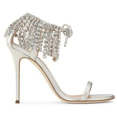 Giuseppe Zanotti Carrie Crystal (4,200 PEN) ❤ liked on Polyvore featuring shoes, sandals, high heels, silver, high heels sandals, fringe shoes, crystal sandals, leather sole shoes and high heel shoes