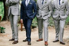 Love this! A great #style idea for your #wedding here at 3 West Club. www.3westclub.com Grey groomsmen suits - photo by Allie Lindsey Photography http://ruffledblog.com/san-diego-botanic-garden-wedding