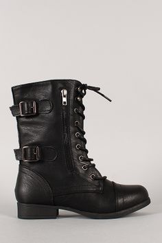 Rice-76 Zipper Buckle Military Lace Up Mid Calf Boot size 8