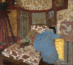 Edouard Vuillard, Woman in Blue with a Child   (1899)  Kelvingrove Art Gallery and Museum - Glasgow  Painting - oil on cardboard