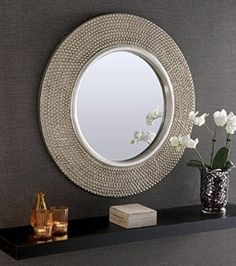 Rome Large Round New Wall Mirror Modern Champagne Silver Frame Art Deco Antique 31in