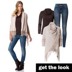 Fransen-Strickjacke, Skinny Jeans und Langarm-Shirt von zero! #zerofashion #getthelook #outfit #ootd #strick