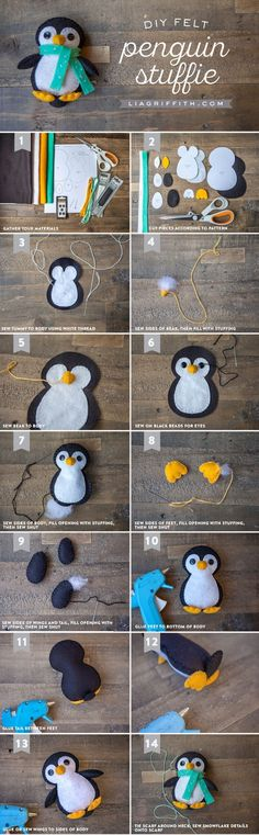 Cats Toys Ideas - Make your own gorgeous penguin felt stuffie with this printable template and step-by-step tutorial from the Lia Griffith studio. - Ideal toys for small cats Fabric Crafts, Sewing Crafts, Sewing Projects, Felt Projects, Sewing Toys, Diy Projects, Felt Christmas Ornaments, Christmas Crafts, Xmas