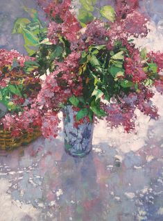 Michael Dudash — Red Lilacs In Lavendar Flower Vases, Flower Art, Watercolor Flowers, Watercolor Paintings, Still Life Flowers, Plant Drawing, Still Life Art, Impressionist Art, Painting Inspiration