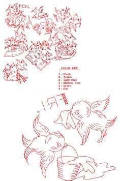 Vintage Embroidery - Blue Birds DOW - Friday and Color Guide