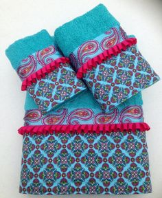 Turquoise and Fuchsia Paisley and Floral Bath by www.ladydiblankets.etsy.com, $59.99