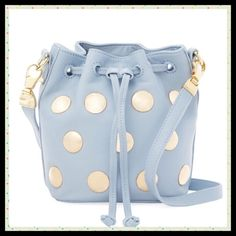 """Fabulous Blue Leather Studded Bucket Bag Leather Length-8"""" x Height-6"""" x Depth-3"""" Adjustable shoulder strap 19""""-23"""" Studded detail at front Fabric interior lining with one zipper pocket and two flat pockets Drawstring closure Cynthia Rowley Bags Crossbody Bags"""
