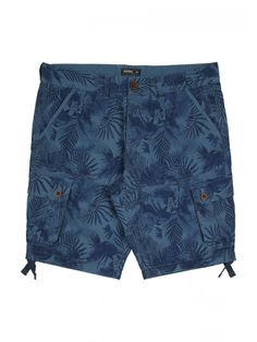 Give your collection of seasonal wardrobe essentials a touch of patterned flair with these men's mid blue printed cargo shorts. With front, back and side poc...