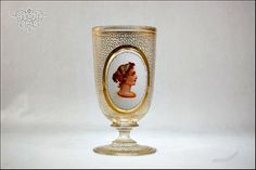 Antique Bohemian Moser Art Glass Portrait Gold by SummitAntiqueCup