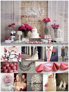 Dessert Bar with small cake. Love the light pink and hot pink accents.