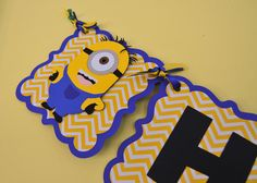 This listing is for an adorable and Minions Despicable Me themed Happy Birthday Banner. that includes your child's age. The banner is made of heavy duty card stock and cute printed scrapbook paper. Ea