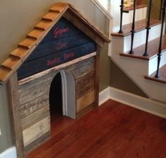 """DIY Dog house built under the stair case. (I'd make the """"dog house"""" a door so I could open the space up to clean. Build A Dog House, House Dog, Niches, Dog Rooms, House Built, Under Stairs, Dogs Of The World, Animal House, Diy Stuffed Animals"""