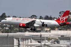 """Virgin America's """"SF Giants"""" plane now sporting a new logo. Photo taken September 5, 2016."""