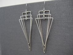 Art Deco Earrings - wedding statement triangle fan, silver long geometric jewelry, math teacher edgy earrings - Tiered Isosceles