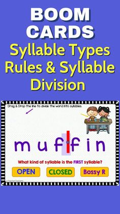 Use these No prep, Boom Cards with movable pieces to help 2nd grade and 3rd grade students master syllable types and syllable division. Applying grade-level phonics and word analysis skills in decoding words provides the foundation necessary for solid reading skills. #boomcards #boomcardsreading #boomcardselementary #teacherfeatures #2ndgrade #3rdgrade #tpt #syllabletypes #syllabledivision #syllableactivities