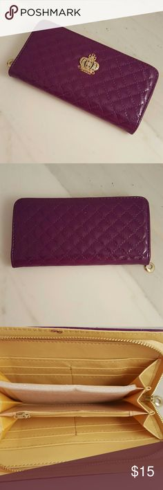 Deep Purple Quilted Continental Wallet Brand new. Never used. Patent faux leather. Gold crown and crystals. Lots of pockets my S6 even fits inside without a case on. Bags Wallets