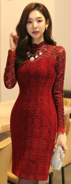 StyleOnme_Metallic Brushed Lace Fitted Dress #wine #red #floral #lace #dress #feminine #elegant #formal #classy #koreanfashion #seoul #kstyle #wintertrend #kfashion