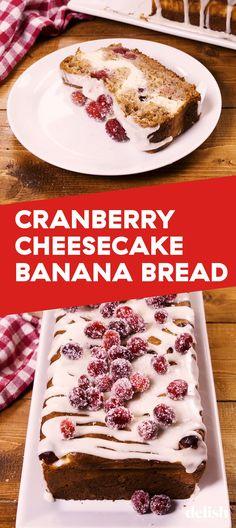 10 20 2019 Cranberry Cheesecake Banana Bread Has Everything Going For It. Make Banana Bread, Banana Bread Recipes, Scones, Yummy Treats, Delicious Desserts, Cranberry Cheesecake, Banana Cranberry Bread, Muffins, Dessert Bread