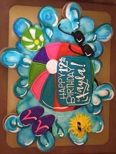 Pool Birthday Cakes, Water Birthday Parties, Wrestling Birthday Parties, Pool Party Cakes, Pool Cake, Swim Party Cupcakes, Cupcake Party, Cupcake Cakes, Beach Ball Cupcakes