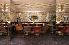 Lovers of hospitality design and bold, glam style will instantly become infatuated with Yeeels Paris, a stunning new restaurant design in the city of light. Interior Flat, Bar Interior Design, Restaurant Interior Design, Cafe Interior, Interior Decorating, Decoration Restaurant, Deco Restaurant, Luxury Restaurant, Restaurant Concept
