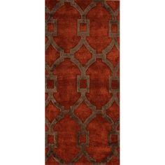 Geometric Pattern Red/ Brown  Wool/ Art Silk Area Rug (2'6 x 8')