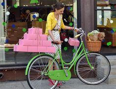 Blog - AB Chao. So crazy cute! dress, wedges, card, neon bracelets, cupcakes, bike, puppy in basket... awesome all over.