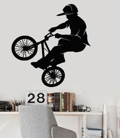 Vinyl Wall Decal Bike BMX Biker Teenager Room Extreme Sports Stickers (015ig)