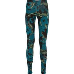 adidas Originals Hawaii printed stretch-cotton jersey leggings ($45) ❤ liked on Polyvore featuring pants, leggings, adidas, adidas leggins, calças, green, tropical print pants, print pants, tropical print leggings and green leggings