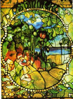 Four seasons window, summer panel, Louis Comfort Tiffany stained glass art PUBLIC DOMAIN Tiffany Glass, Tiffany Stained Glass, Stained Glass Lamps, Leaded Glass, Stained Glass Windows, Tiffany Art, Louis Comfort Tiffany, Art Nouveau, Mosaic Art