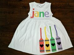 Back to School Dress -Crayon  Appliqué -  Toddler or Girl's Dress by TheHeartCreations on Etsy https://www.etsy.com/listing/190362085/back-to-school-dress-crayon-applique
