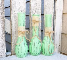 3 SHABBY CHIC Mint Painted Glass Bud Vases with by SoFrickinCute, $33.00